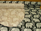 Elephant Natural Linen Or Black Cotton Jacquard Curtain Upholstery Fabric