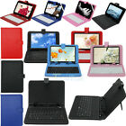 "Micro USB / USB Keyboard + PU Leather Folio Cover Case For 7"" 9"" 10.1"" Tablet PC"
