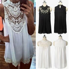 Plus Size 8-26 Women Chiffon Lace Long Tops Shirts Ladie Short Party Beach Dress