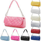 Womens Ladies Quilted Patent Glossy Chain Tote Shoulder Bag Handbag