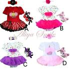 Baby Girls Infant Headband +Cake Tutu Dress + Shoes Birthday Outfits 6-18 Months