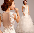 woman sexy see-through back flower lace fish tail princess organza Wedding dress