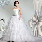 woman sexy off shoulder bead full pleat asym hem chiffon princess Wedding dress