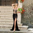 Sexy Women Embroidery Mesh Side Split Open Back Sleeveless Party Long Maxi Dress