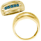 0.5 Carat Blue Diamond Designer Channel Mens Grooms Wedding Ring 14K Yellow Gold