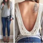 S-XL New Womens Backless Long Sleeve Shirt Casual Blouse Tops Shirt Clothing Hot