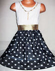 GIRLS WHITE LACE BLACK SPOT PRINT CHIFFON DIP HEM PARTY DRESS with NECKLACE