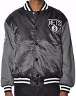 Brooklyn Nets Men's Majestic NBA Brooklyn Nets Team Satin Snap Up Jacket M-XL on eBay