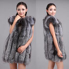 Luxurious100% Real Farm Silver Fox Fur Vest Waistcoat Women Warm Thick Adorable