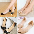 Womens Glitter Loafers Metal Pointed Toe Shoes Low Heel Ballet Flats Pumps Flat