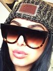 Vintage Celin Style Shadow Designer Flat Top Aviator Oversized Women Sunglasses