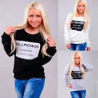 New Fashion Women Girl Letter Pattern Printed Long Sleeved Round Neck T-Shirt