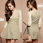 Lovely Round Neck Floral Lace Sleeve Color Block Womens Pleated Mini Dress Tops