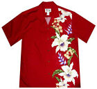 New Mens Red Hawaiian Aloha Shirt Exotic Flowers
