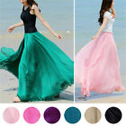 Women Elegant Chiffon Elastic Waist Band Beach Long Maxi Skirts Dress New Coming