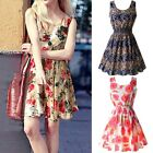 Womens Fashion Casual Summer Floral Slim Sleeveless Party Vest Mini Dress J53
