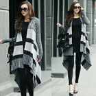 Wide Stripes Long Sleeve Womens Cardigan Sweater Knitwear Outwear Top Asymmetric