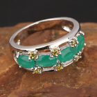 OVAL Green Emerald GEMSTONES SILVER RING Size6 /7 /8 /9 T7455