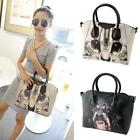 Vintage Dog Cat Animal Printed Women Leather Tote Messenger Shoulder Handbag