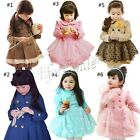Girls Kid Princess Double Breasted Trench Coat Wind Jacket Toddler Outwear Dress