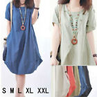 Free P&P!! Womens Girls Linen Loose Mini Dress Kaftan Maternity Long Top Blouse