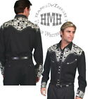 P-634-ds Scully Western Cowboy Snap Shirt Silver Embroidery Gun Fighter Fancy