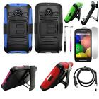 Phone Case For Motorola Moto E Cover Stand +Holster +USB Charger +Flim+ Stylus