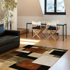 Contemporary Squares Brown Area Rug Modern Cubes Runner Geometric Blocks Carpet