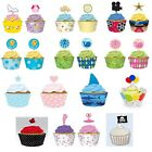 Range of 12 Decorative CUPCAKE WRAPS WITH TOPPERS - Baking Cases Party Picks