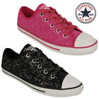 Femmes Or Argent Brillant Converse Chaussure Baskets Fille Plates Toile Collège