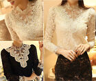 Women's Beads Neck Collar Lace Floral Casual Long Sleeve Top Tee Shirt Blouse