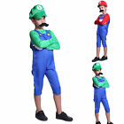 Super Mario Cosplay Outfit Suspender Pants w/Moustache Hat For Child Kids Boys