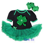 Baby St Patricks Day Shamrock Black Green Romper Bodysuit Tutu Party Dress 0-18M