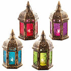 COLOURFUL MOROCCAN LANTERNS - METAL GARDEN TEALIGHT HOLDERS - STANDING / HANGING
