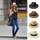 Unisex Men Women Straw Hat Pinch Crown Ribbon Fedora Sun Beach Cap 5 Colors