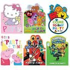 6 CHARACTER INVITATIONS with Envelopes - Large Range{Gemma}(Kids/Birthday/Party)