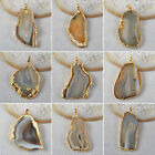 Charm  Natural Agate Druzy Slice Electroformed Gemstone Pendant/ Golden AG092