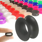 Pair flesh tunnel silicone double flare ear gauge plug stretched stretching 9CNT