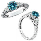 0.5 Carat Blue Diamond Fancy Solitaire Promise Wedding Ring 14K White Gold
