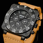 INFANTRY Mens DATE Sport Luxury Lume Quartz Military Army Leather Wrist Watch