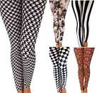 Ladies Skinny Printed Leggings Womens Full Length Stretchy Trousers 80s Retro