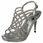 F10456- Ladies Synthetic Sliver Strappy Diamante Sandals- Great Price!