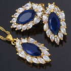 Costume Wedding Jewelry Set Marquise Cut Swarovski Pendant Necklace Earrings