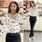 Womens Casual Loose Long Sleeve Star Printed Lapel Chiffon Blouse Shirt Tops Tee