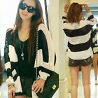 Korean Hollow Out Womens V-neck Striped Loose Cardigan Sweater Knitwear Hot 6822