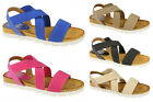 F10323- Ladies Elastic Down To Earth Sandals 5 Colours- Great Price!