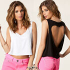 1PC Women Backless Heart-shaped Hollow Midriff Tank Tops Casual Vest Nice Gift