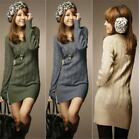 Women's Sweater V-Necked Dress Warm Slim Bodycon Long Sleeve Winter Knit Dress S