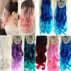 Fashion Ombre Mix Color 53cm Long Wavy Curly Ponytail Hair Extension Hairpiece