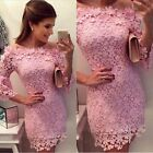 Pink Formal Bodycon Dress Lace Bride Dress Evening Sexy Party Cocktail Dress SML